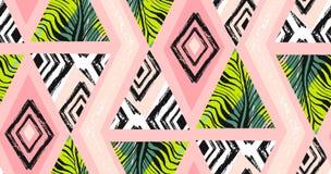 Вручите вычерченный коллаж картины конспекта вектора freehand текстурированный безшовный тропический с мотивом зебры, органически Стоковое Изображение