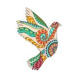 Вручите вычерченный красочный голубя летания в стиле zentangle иллюстрация вектора