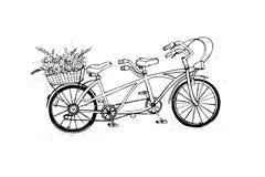 Вручите вычерченный тандемный велосипед города с корзиной цветка Год сбора винограда, ретро стиль Иллюстрация вектора эскиза Стоковая Фотография RF