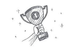 Вручите вычерченный трофей для первого места в ладони Стоковая Фотография RF