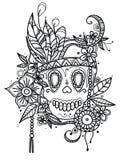 Вручите вычерченный череп иллюстрации в цветках и пер для книжка-раскраски Этнический тип иллюстрация вектора