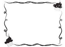 Вручите вычерченный эскиз рамки границы пирожного иллюстрация штока