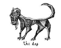 Вручите вычерченный эскиз собаки в абстрактном стиле Стоковое фото RF