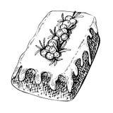 Вручите вычерченный эскиз традиционной x-mas еды, торт Иллюстрация рождества с традиционным десертом Стоковые Фото