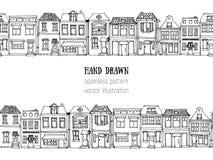 Вручите вычерченным европейским домам города горизонтальную безшовную картину Милая иллюстрация вектора стиля шаржа Красочный сов Стоковые Фотографии RF