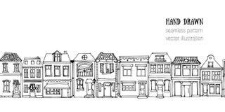 Вручите вычерченным европейским домам города горизонтальную безшовную картину Милая иллюстрация вектора стиля шаржа Красочный сов Стоковые Фото