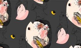 Вручите вычерченным коллаж картины вектора текстурированный конспектом графический безшовный с экзотическими тропическими попугая Стоковое фото RF