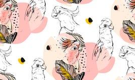 Вручите вычерченным коллаж картины вектора текстурированный конспектом графический безшовный с экзотическими тропическими попугая Стоковые Фотографии RF