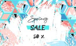 Вручите вычерченным шаблон заголовка продажи весны чертежа вектора текстурированный конспектом художнический с формами шестиуголь Стоковое Изображение RF