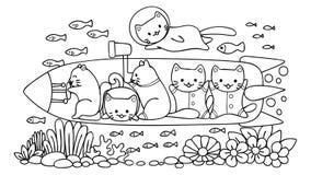 Вручите вычерченных милых котов исследуя под миром воды в подводной лодке, для элемента дизайна и страницы книжка-раскраски для д иллюстрация штока