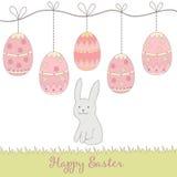Вручите вычерченных симпатичных кролика и яичек - счастливой карточки концепции пасхи, сделанной внутри Стоковые Фотографии RF