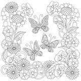 Вручите вычерченных украшенных бабочек в круг в этническом стиле Стоковая Фотография