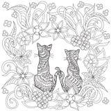 Вручите вычерченных украшенных котов шаржа в цветки Стоковая Фотография