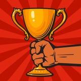 Вручите держать победителей чашка золота, трофей, награда Вручите вычерченную иллюстрацию вектора изолированную на предпосылке с  иллюстрация штока