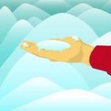 Вручите держать кучу снега перед снегом Стоковые Изображения
