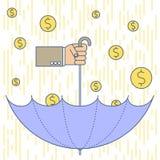 Вручите держать слегка ударенный зонтик под золотым дождем наличных денег Стоковое Изображение