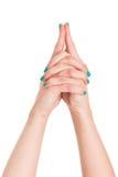 Вручите йогу знака изолированную на белом спортзале рук предпосылки Стоковое Изображение RF