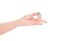 Вручите йогу знака изолированную на белом спортзале рук предпосылки Стоковые Изображения