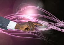 Вручите касающий воздух волшебных атмосферических кривых Стоковое Фото