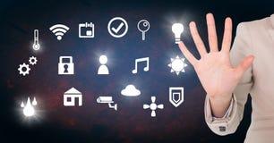 Вручите касающий интерфейс значков интернета вещей Стоковые Фотографии RF