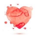 Вручите красный цвет влюбленности краски искусства aquarelle акварели притяжки Стоковые Фотографии RF