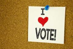 Вручите любить голосования выборщиков смысла концепции голосования влюбленности показа i воодушевленности титра текста сочинитель Стоковое Изображение