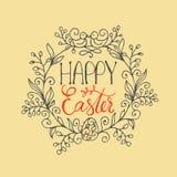Вручите написанный помечать буквами счастливый венок пасхи с 2 птицами и яичками Шаблон текста поздравительной открытки Стоковая Фотография