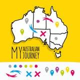 Вручите нарисованный моему австралийскому проекту карты путешествием с иллюстрация штока