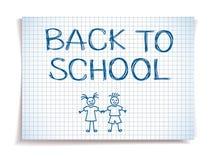 Вручите нарисованный назад к эскизу школы на приданной квадратную форму бумаге тетради Стоковое Фото