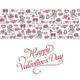 Вручите поздравительную открытку дня ` s валентинки чертежа с картиной Стоковые Фотографии RF