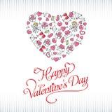 Вручите поздравительную открытку дня ` s валентинки чертежа Стоковая Фотография