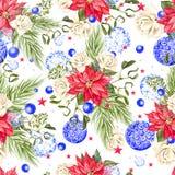 Вручите покрашенному рождеству безшовную картину с рождественской елкой акварели, шариками голубых цветов, розами, цветками рожде иллюстрация штока