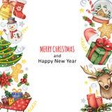 Вручите покрашенную предпосылку акварели с элементами на с Рождеством Христовым и счастливый Новый Год Стоковая Фотография