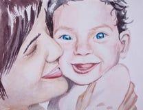 Вручите покрашенный портрет watecolor симпатичных матери и bab семьи бесплатная иллюстрация