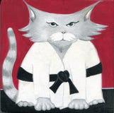 Вручите покрашенным боевым искусствам карате Sensei кота шаржа мастера черного пояса Стоковые Изображения
