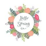 Вручите помечать буквами типографский чертеж с весной фразы здравствуйте! и декоративной предпосылкой цветка Стоковые Изображения RF