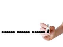 Вручите пунктирную линию сочинительства с черной отметкой на прозрачном whiteb Стоковая Фотография RF