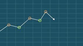 Вручите регулирует падая диаграмму и поворачивает ее в рост сток-видео
