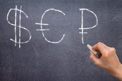 Вручите рисуя знак доллара, знак евро и знак рубля Стоковая Фотография RF