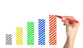 Вручите рисуя финансовую диаграмму с красочными отметками на белизне Стоковые Изображения