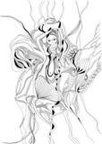 Вручите танец вычерченных и doodle стиля девушки танцев живота Стоковая Фотография