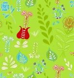 Вручите цветок и лист лета притяжки безшовная картина Стоковые Изображения RF