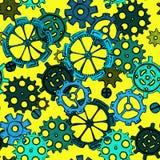 Вручите цепн-колеса эскиза чертежа, картину красочных шестерней безшовную Стоковые Фотографии RF