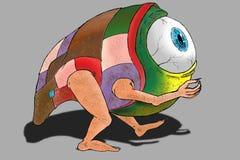 Вручите цифров покрытую краской притяжку, одному извергу глаза Стоковые Фотографии RF