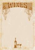 Вручите чертеж знамени винной карты, бутылку вина, 2 стекла и место для вашего текста иллюстрация Стоковые Фото