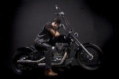 всадник мотоцикла тяпки Стоковая Фотография RF