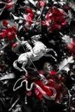 Всадник на лошади убивает змейку Стоковые Изображения RF