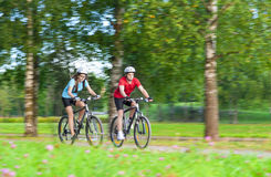 2 всадника велосипеда имея время совместно Outdoors в передних частях лета Стоковая Фотография