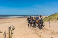 Всадники верхом на пляже Стоковые Фотографии RF