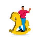 Всадник вектора на иллюстрации шаржа лошади Стоковое Изображение RF